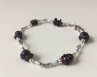 Garnet Bracelet, Birthstone Jewelry, Stackable Bracelet, Layering Bracelet, Bohemian Jewelry, Boho Chic Bracelet, Delicate Bracelet