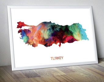 Turkey Artwork Turkey Wall Art Turkey Photo Turkey Wall Decor Turkey Print Turkey Poster Turkey Map Turkey Watercolor Turkey Art Unframed