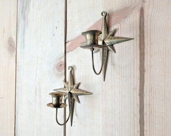 set of 2 starburst brass candle holders   ornate etched star wall mount sconces
