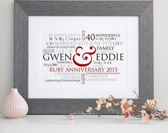 Personalised Ruby Wedding Word Art