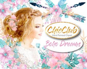Watercolor Clipart Boho | Watercolor Clipart Boho Style | Watercolor Clipart Boho Arrows | Girly Babe Boss | Pink Flowers DIY Fashion Girl
