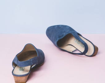 Blue Suede Laura Ashley Sling Back Flat Mules // minimal // luxe // summer // made in Spain