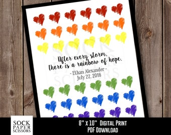Nursery Decor Printable Print, Rainbow Baby Shower Gift, After every storm there is a rainbow of hope. - , PDF Digital Download, Sku-CNA105