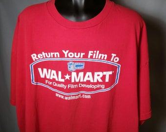 90s Red Wal-Mart Film Developing Logo Graphic Tee Sz 2XL XXL Camera Photography Retro 1990s Novelty Rare Walmart Supercenter T-Shirt Shirt