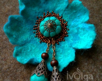 Unique Felt Poppy Brooch Anemone Turquoise Teal Girl Flower Boho Copper Tassel Mother Hat Adornment Statement Pin Scarf Belt Beaded Jewelry