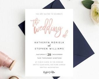 Rose Gold Wedding Invitation Printable Template, Calligraphy Wedding Invitation Template, Editable Wedding Invitation PDF Instant Download