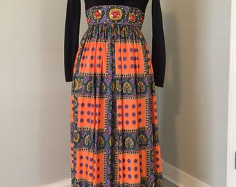 Vintage 1970s Maxi dress w/jeweled wasteline