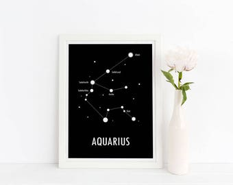 Aquarius Poster / Constellation Print / Astronomy Poster / Zodiac Sign / Star Constellation / Scandinavian Art