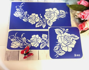 "Stencils for temporary tattoos. ""Roses-2"" set, 3 pieces. Glitter tattoo. Adhesive stencils.Body art tattoo /face painting stencils"