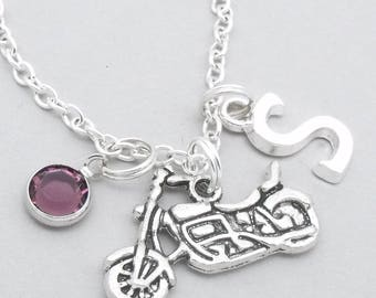 Motorbike necklace with monogram initial | motorbike jewellery | motorbike pendant | motorcycle necklace | personalised motorbike gift