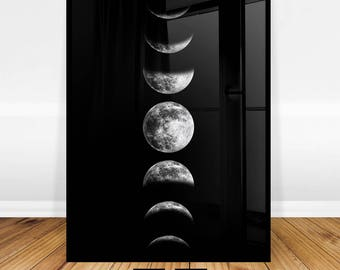 Moon Phases Print, Moon Phase Wall Art, Printable Moon Poster, Phases of the Moon Art Print, Moon Decor, Black and White, Digital Download