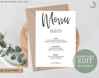 Printable Wedding Menu Template: 5x7, Menu Printable, Calligraphy, instant download pdf, Editable Menu Cards Reception Menu, rustic menu 127