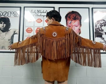 Original Potentially Vintage Scully Beaded Fringed Leather Jacket
