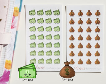 28 Kawaii Payday Stickers // Planner Stickers for Erin Condren, Happy Planner etc. Cute pay day | money bag | finance | cash | salary