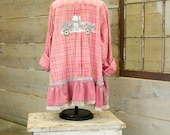 Flannel Shirt - Tunic  - Boho Clothing - Upcycled - Womens Lg. A- Line Style - Jacket , Pink Grey Plaid Vintage Truck Gone Junkin