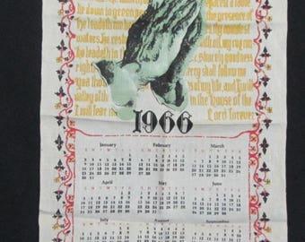 Vintage 1966 Calendar Dish Towel
