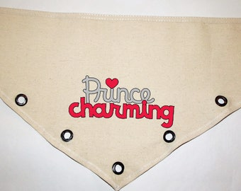 Valentines Day Prince Charming red silver glitter or plain grommet accent Canvas dog pet Bandana tie on or over collar XS S M L XL