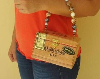 Handmade Wooden Arturo Fuente Flor Fina Cigar Box Purse