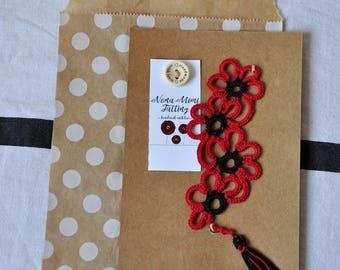 LACE BOOKMARK, flower bookmark, handmade bookmark, tatting bookmark, lace, tatting
