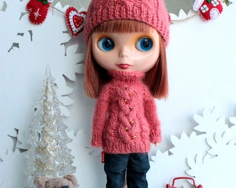 Outfit for Blythe doll: hat and sweater long sleeve