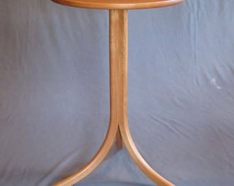 Wood Furniture. Solid Wood Cherry Round Three Leg Contemporary Occasional Table for Any Room