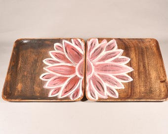 Flor - Hand painted solid Wood Trays (Set of two)