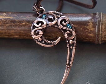 Spiral long copper pendant // Spiral wire wrapped pendant // Spiral pendant necklace // Copper wire wrapped jewelry necklace