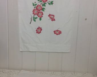 Vintage Pillowcases, liquid embroidered, floral pillowcases, set of 2