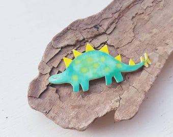Dinosaur brooch dinosaur badge green dinosaur stegosaurus dinosaur jewellery. Dinosaur accessories dinosaurs Jurassic park.