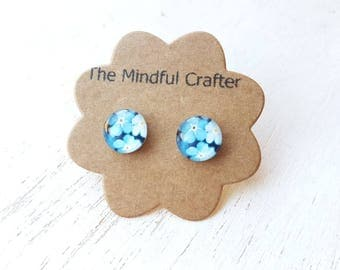 Flower earrings. Forget-me-not earrings blue flower earrings. Forget-me-not flower jewellery. Flower Jewelry. Wild flower jewellery  blue