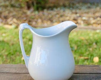 Ironstone Pitcher - White Ironstone Pitcher - Old Ironstone Pitcher - 1800's Alfred Meakin Ironstone - Royal Ironstone - White Pitcher - Jug