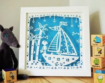 Pirate framed papercut