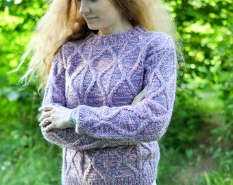 Knitted a women mohair sweater handmade work