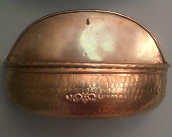 Large Vintage Brass Wall Planter Pocket Holder