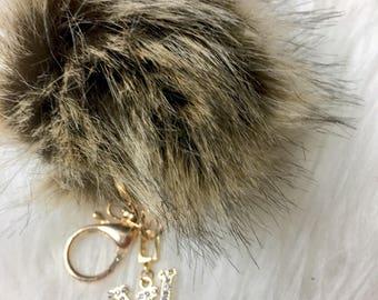 Louis Vuitton Inspired keychain Pom Pom bag charm Purse Charm Handbag charm clip Gold Bling Crystal Rhinestone charm Fur Pom Pom