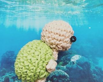 Little Turtle Amigurumi, crocheted animal, keychain, ocean animal