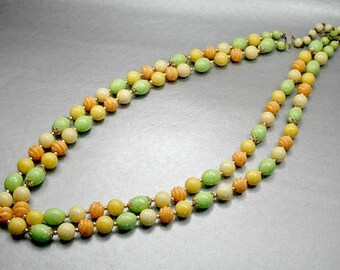 Lucite Beaded Double Strand Green Yellow & Orange Necklace, Gold Stabilizers, Retro, Statement, Fall Colors, Vintage Jewelry, 1950 Necklace