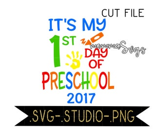 It's My First Day Of Preschool Svg, Studio, Png, Cut File