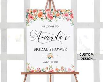 Floral Bridal Shower Welcome Sign, Bridal Shower Poster, Bridal Shower Sign, Bridal Shower Decoration, Bridal Shower Welcome Poster