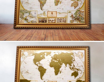 "Wedding Gifts for Couple - Scratchable Map of the World - Wedding gift ideas - Gift for Bride - Travel Map Push Pins 34""x25"" - Wedding Gift"