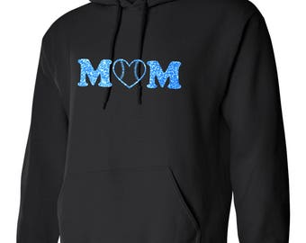 Glitter Baseball Mom Heart Hoodie-Custom Blue Glitter Mom w/ heart design
