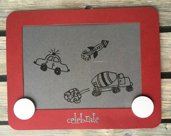 Boys and their Toys multi vehicle Etch A Sketch looking Greeting Card