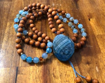 Blue Fire Agate & Barbie Sandalwood partially handknotted 108 mala necklace, Meditaion mala,