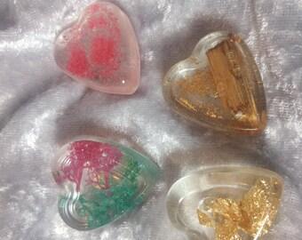 Magnet 4-Set hearts-DIY resin handmade