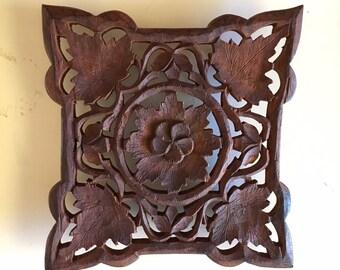 Vintage carved wooden trivet - bohemian