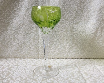 "Vintage Nachtmann Traube Wine Goblet Chartreuse Cut to Clear 6 7/8"" Tall Label Attached"