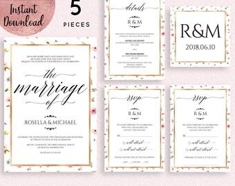 Floral Gold Foil Wedding Invitation Suite Template, Printable 5x7 Wedding Invitation Kit Template, Editable PDF files, Digital Download