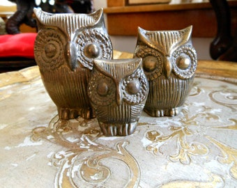 Vintage Brass Owl Family - Set of 3 Retro Owls - Mom, Dad, Baby Owls - Cute Miniatures
