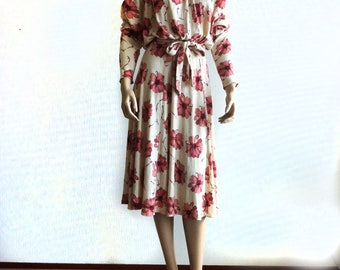 Vintage Wool mix winter dress Creme color with old pink flower print