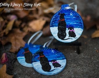 Starry Night Pit Bull Christmas Ornament